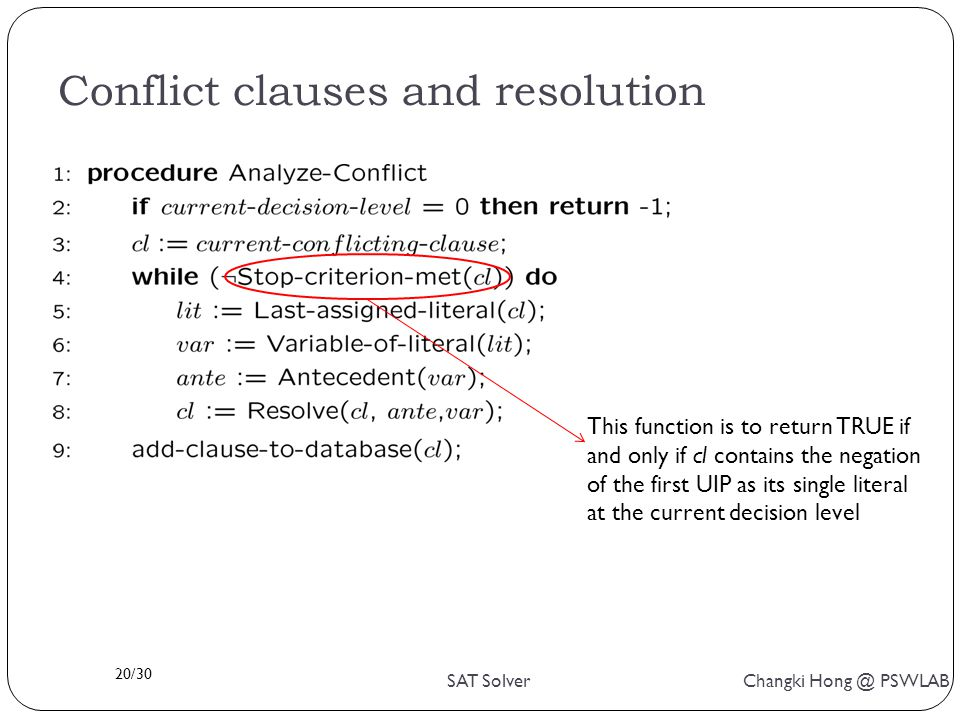 20/30 SAT Solver Changki Hong @ PSWLAB Conflict clauses and resolution This function is to return TRUE if and only if cl contains the negation of the first UIP as its single literal at the current decision level