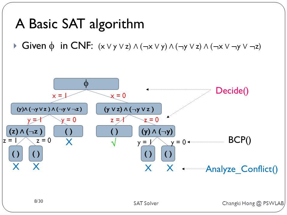 8/30 SAT Solver Changki Hong @ PSWLAB  Given  in CNF: (x ∨ y ∨ z) ∧ ( ¬ x ∨ y) ∧ ( ¬ y ∨ z) ∧ ( ¬ x ∨ ¬ y ∨ ¬ z) Decide() BCP() Analyze_Conflict() A Basic SAT algorithm (y) ∧ ( ¬ y ∨ z ) ∧ ( ¬ y ∨ ¬ z ) (y ∨ z) ∧ ( ¬ y ∨ z ) (z) ∧ ( ¬ z ) ( ) (y) ∧ ( ¬ y) ( )  x = 1x = 0 y = 1y = 0z = 1z = 0 z = 1z = 0 y = 1y = 0  X XX XX