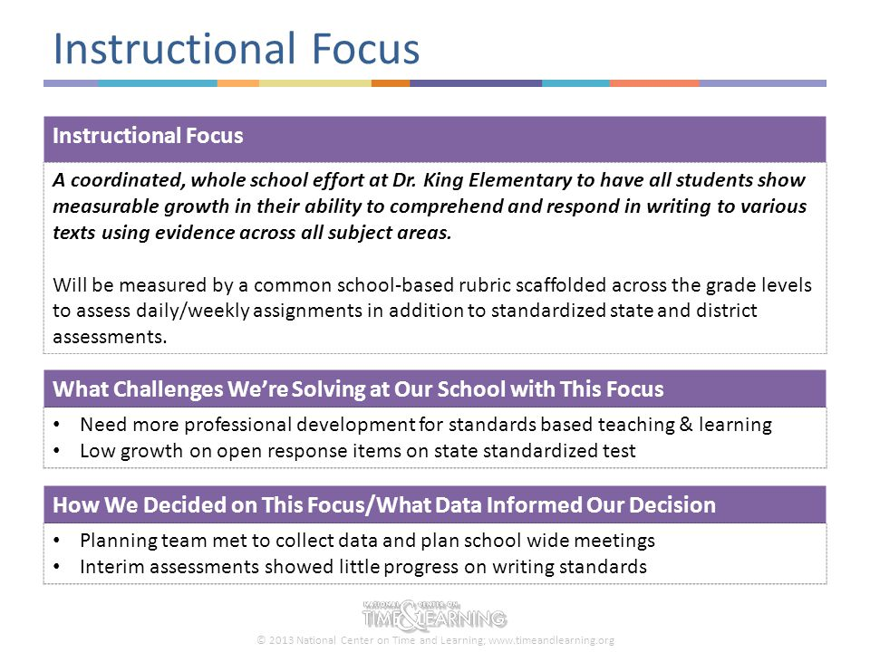 © 2013 National Center on Time and Learning; www.timeandlearning.org Addressing Our Instructional Focus How are We Using Time to Support Our Instructional Focus.