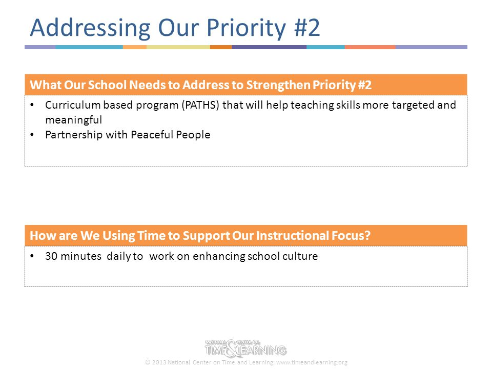 © 2013 National Center on Time and Learning; www.timeandlearning.org Addressing Our Priority #2 How are We Using Time to Support Our Instructional Foc