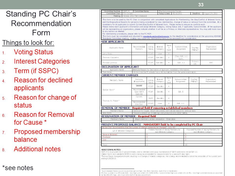 33 Standing PC Chair's Recommendation Form Things to look for: 1. Voting Status 2. Interest Categories 3. Term (if SSPC) 4. Reason for declined applic