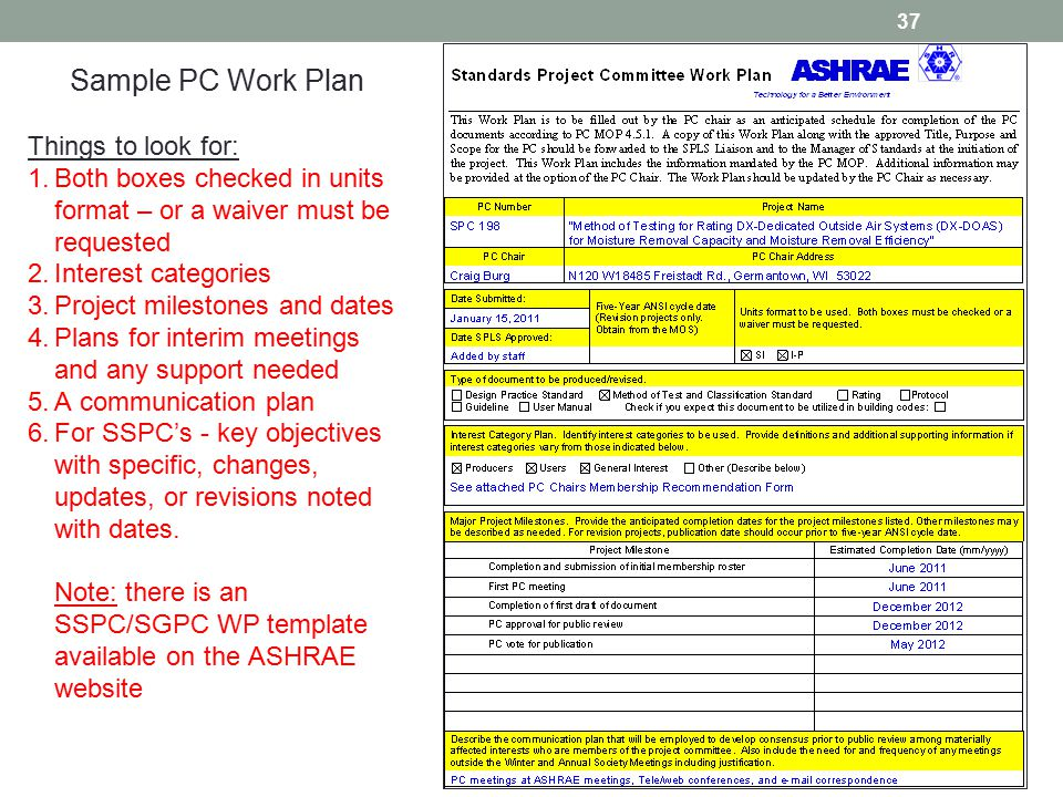 37 Sample PC Work Plan Things to look for: 1.Both boxes checked in units format – or a waiver must be requested 2.Interest categories 3.Project milest