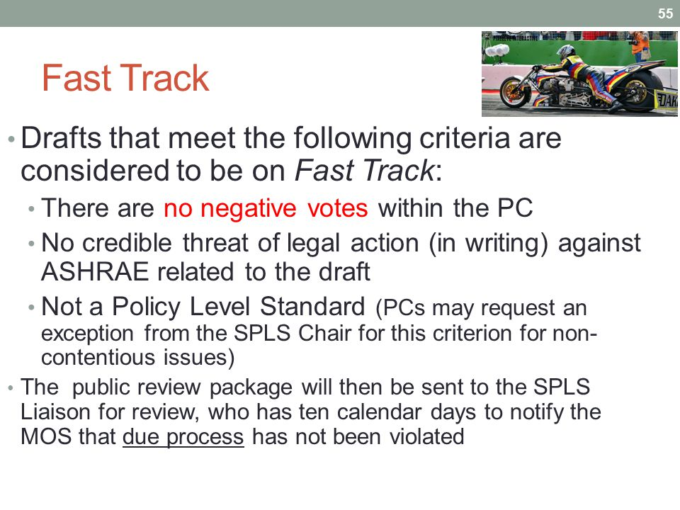 Fast Track Drafts that meet the following criteria are considered to be on Fast Track: There are no negative votes within the PC No credible threat of