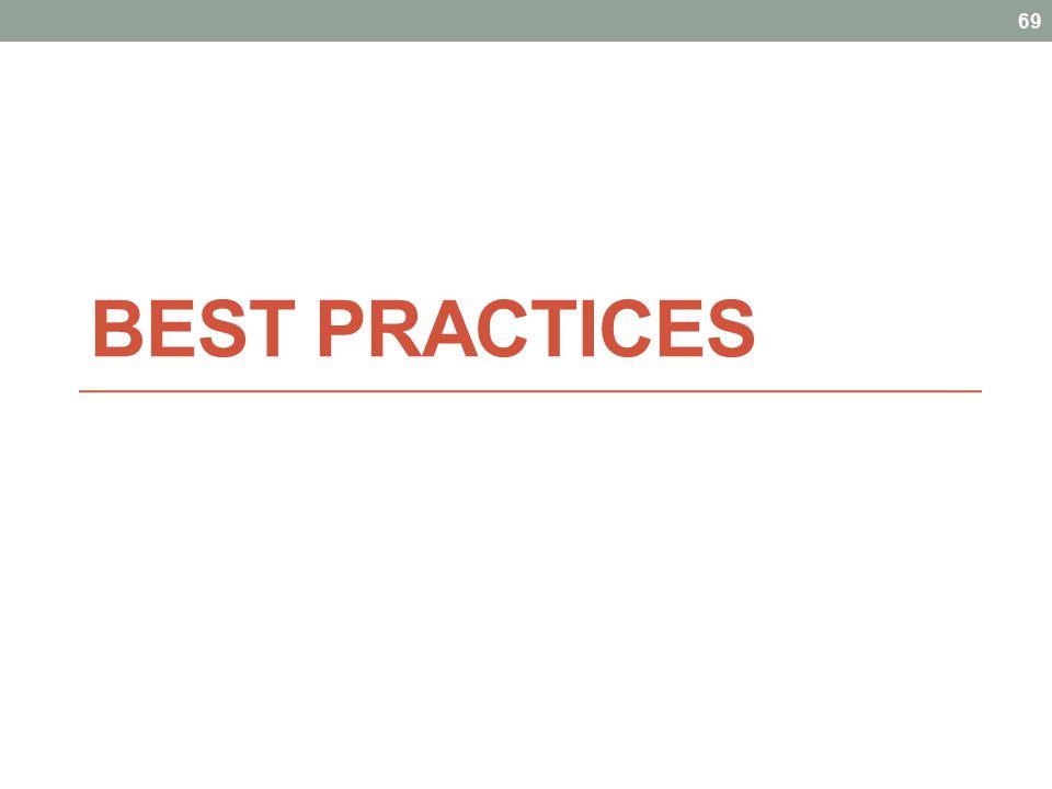 BEST PRACTICES 69