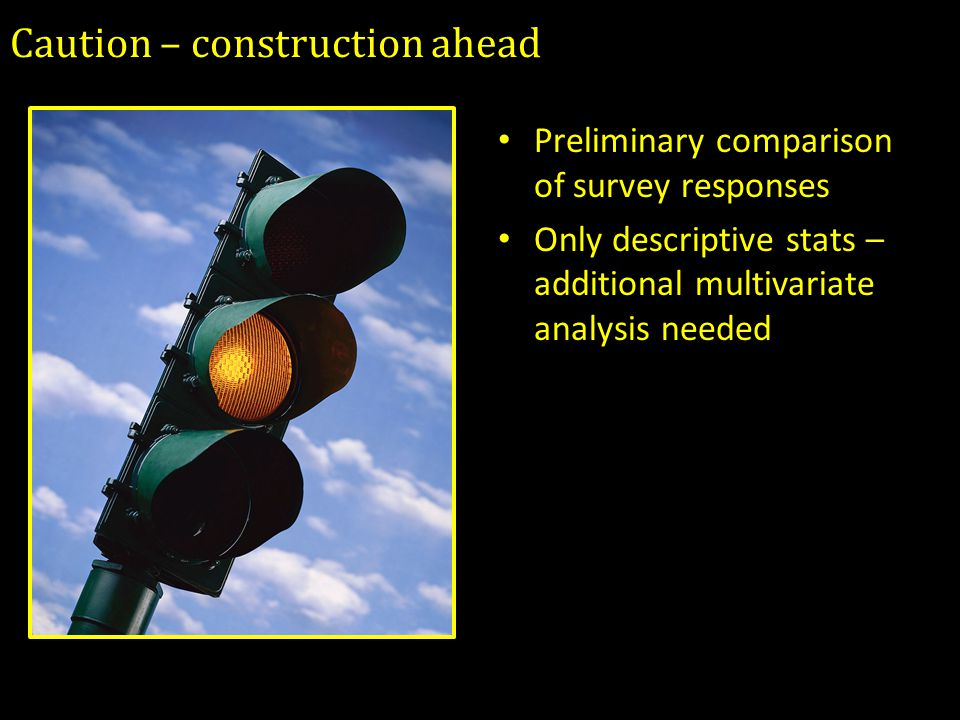 Caution – construction ahead Preliminary comparison of survey responses Only descriptive stats – additional multivariate analysis needed