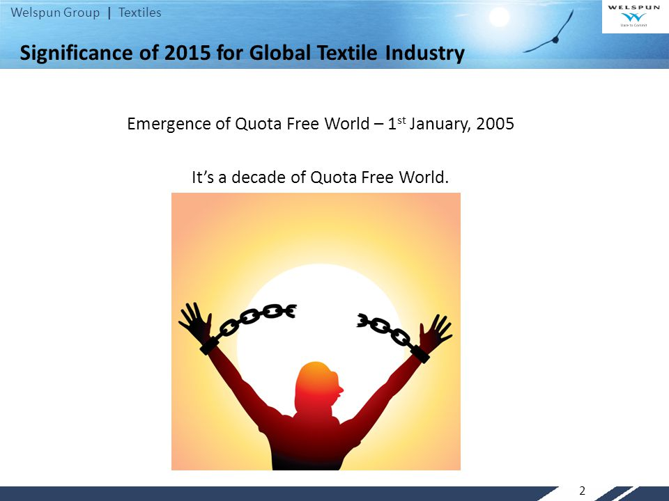 Welspun Group | Textiles Significance of 2015 for Global Textile Industry Emergence of Quota Free World – 1 st January, 2005 It's a decade of Quota Free World.
