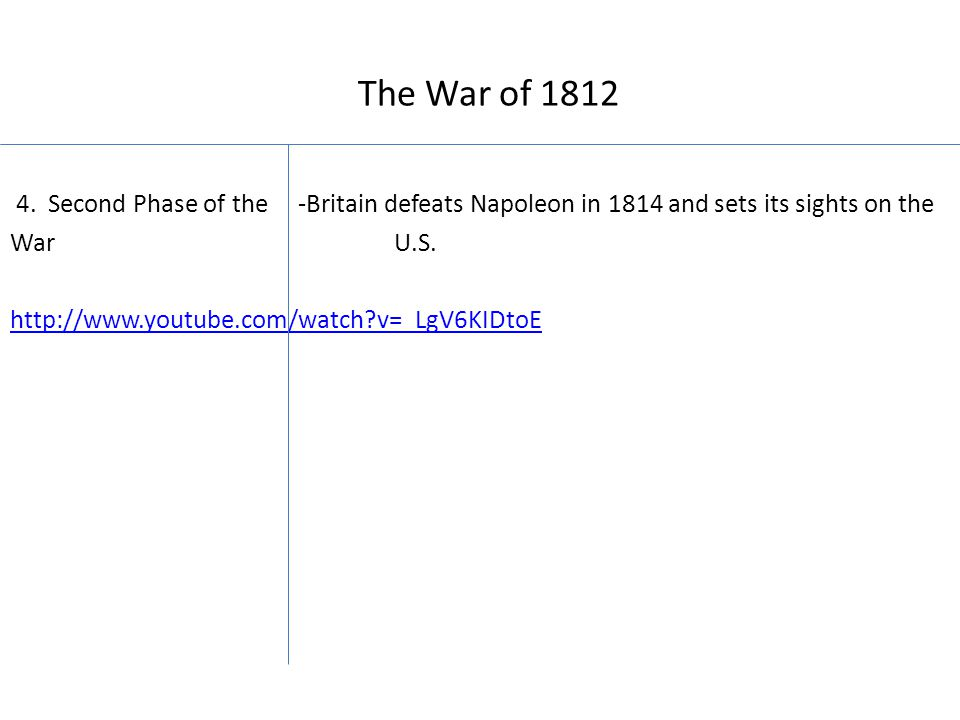 The War of 1812 4.