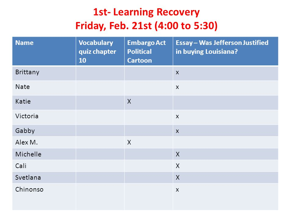 1st- Learning Recovery Friday, Feb.