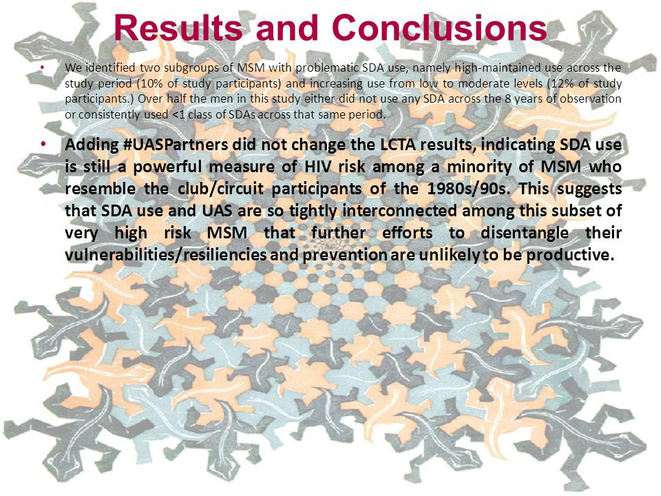 Results and Conclusions We identified two subgroups of MSM with problematic SDA use, namely high-maintained use across the study period (10% of study participants) and increasing use from low to moderate levels (12% of study participants.) Over half the men in this study either did not use any SDA across the 8 years of observation or consistently used <1 class of SDAs across that same period.