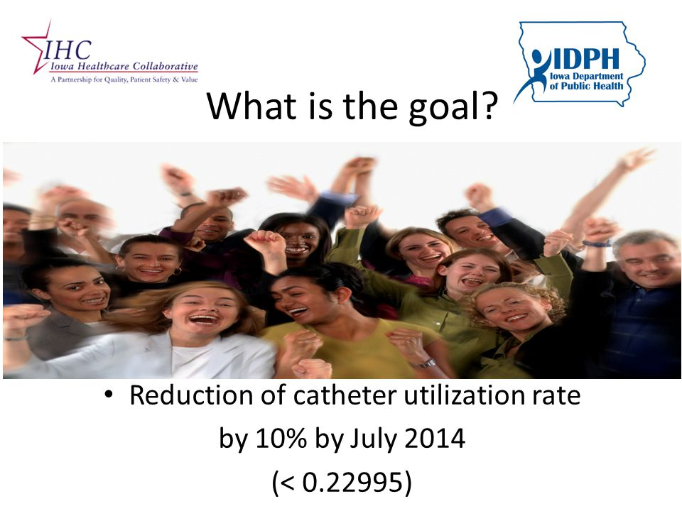 What is the goal Reduction of catheter utilization rate by 10% by July 2014 (< 0.22995)