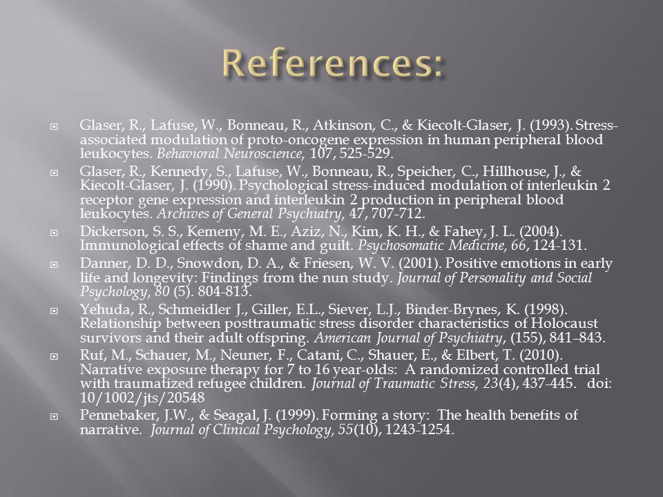  Glaser, R., Lafuse, W., Bonneau, R., Atkinson, C., & Kiecolt-Glaser, J.
