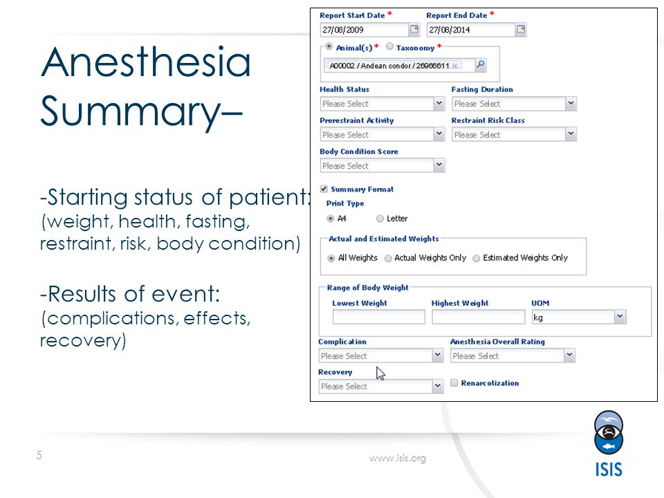 5 www.isis.org Anesthesia Summary– -Starting status of patient: (weight, health, fasting, restraint, risk, body condition) -Results of event: (complic