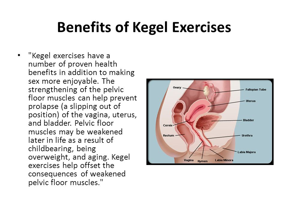 Benefits of Kegel Exercises Kegel exercises have a number of proven health benefits in addition to making sex more enjoyable.