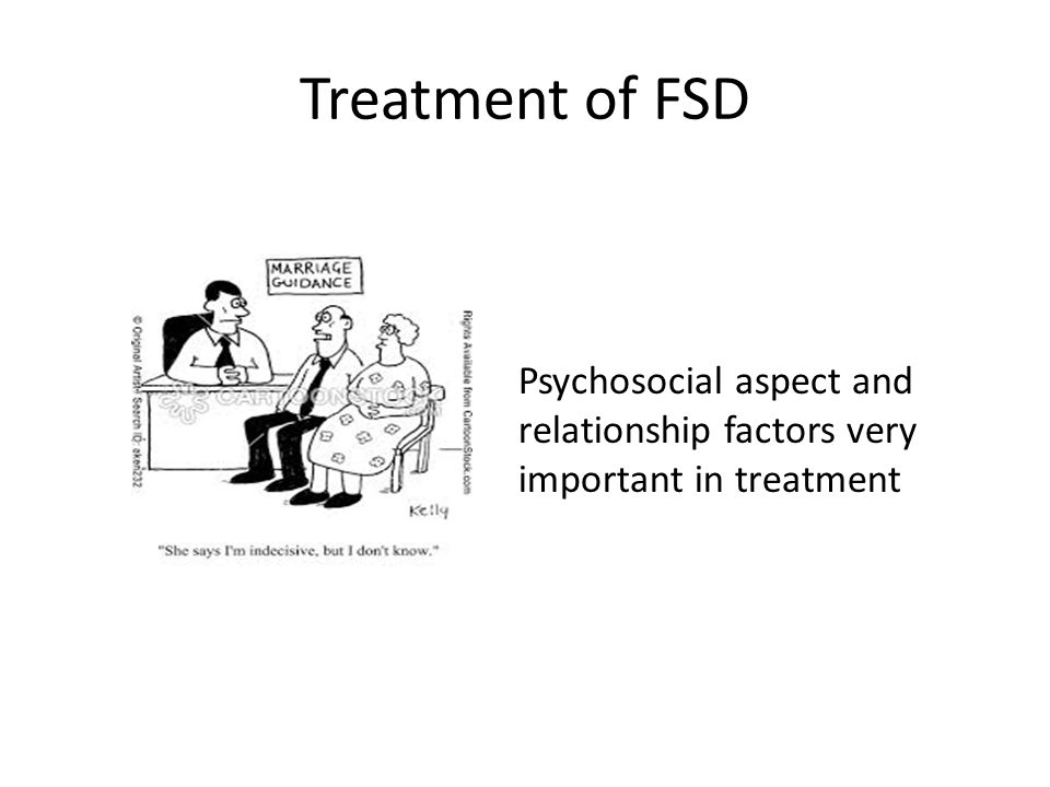 Treatment of FSD Psychosocial aspect and relationship factors very important in treatment
