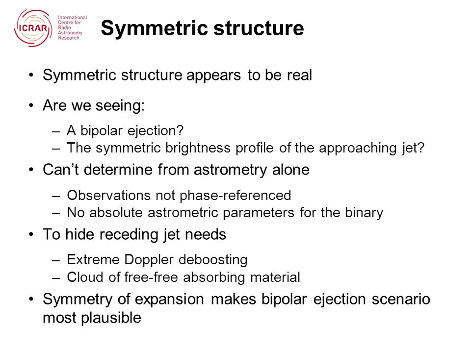 Symmetric structure Symmetric structure appears to be real Are we seeing: –A bipolar ejection.