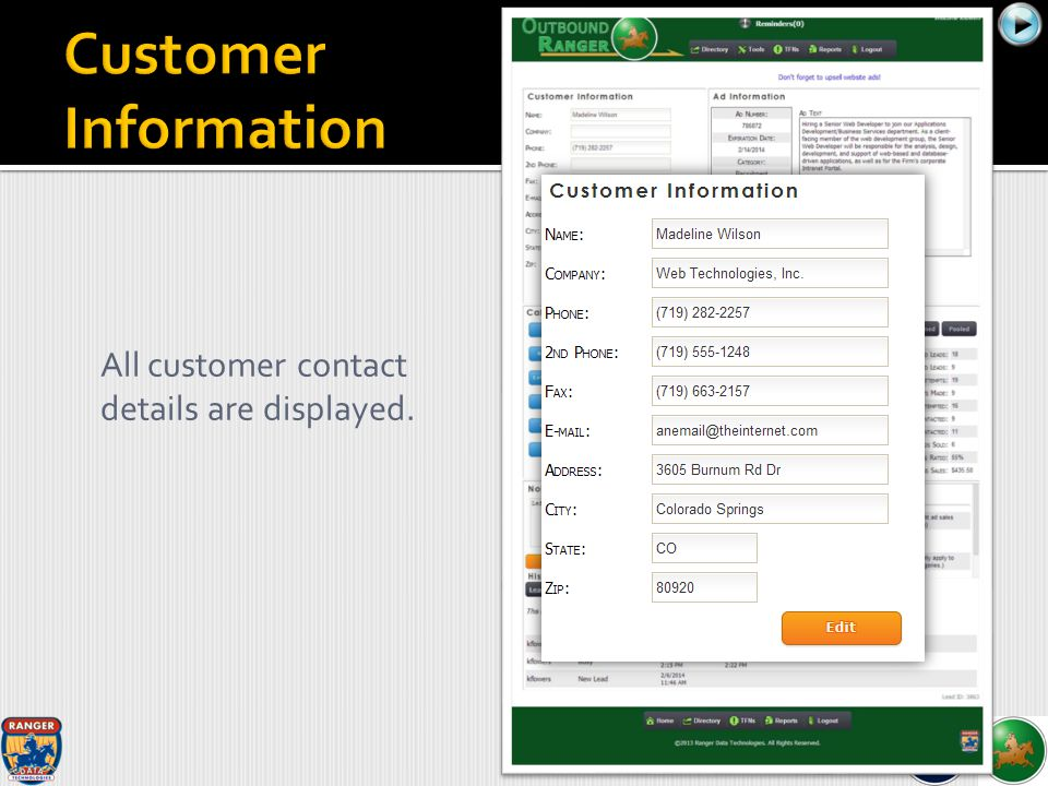All customer contact details are displayed.