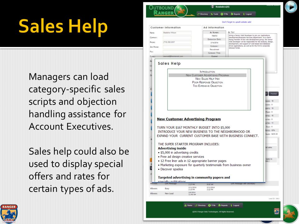Managers can load category-specific sales scripts and objection handling assistance for Account Executives.