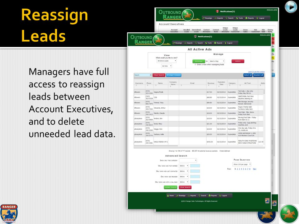 Managers have full access to reassign leads between Account Executives, and to delete unneeded lead data.