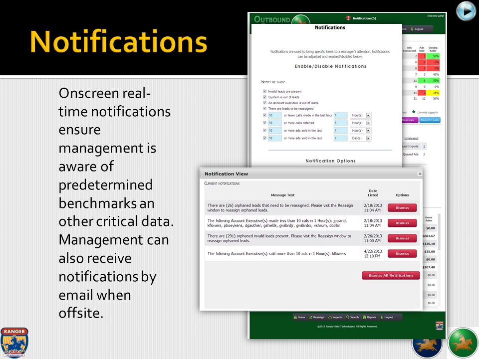 Onscreen real- time notifications ensure management is aware of predetermined benchmarks an other critical data. Management can also receive notificat