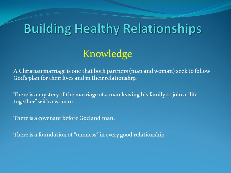 Knowledge A Christian marriage is one that both partners (man and woman) seek to follow God's plan for their lives and in their relationship.
