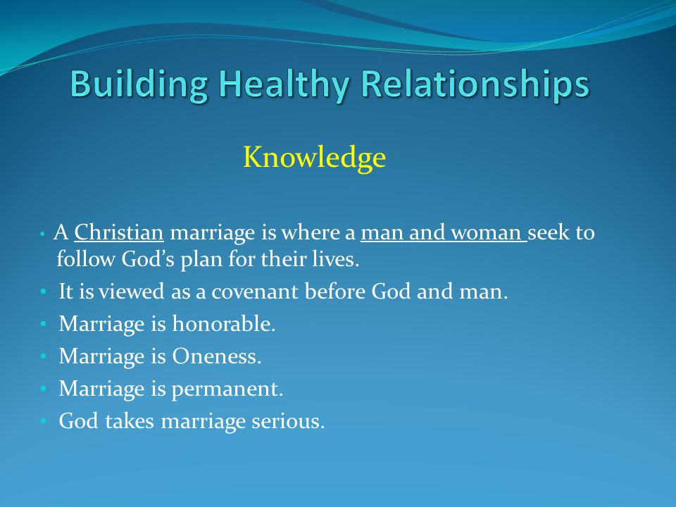 Knowledge A Christian marriage is where a man and woman seek to follow God's plan for their lives. It is viewed as a covenant before God and man. Marr