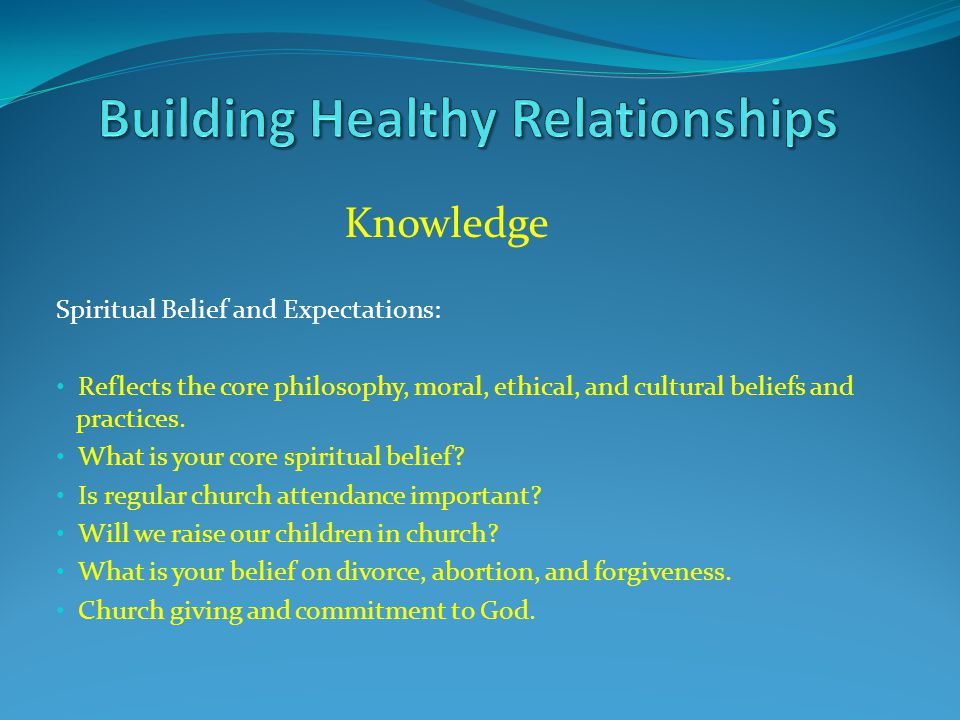 Knowledge Spiritual Belief and Expectations: Reflects the core philosophy, moral, ethical, and cultural beliefs and practices. What is your core spiri