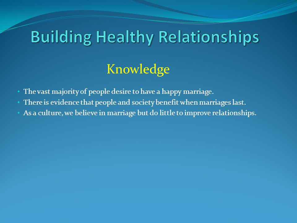 Knowledge The vast majority of people desire to have a happy marriage.