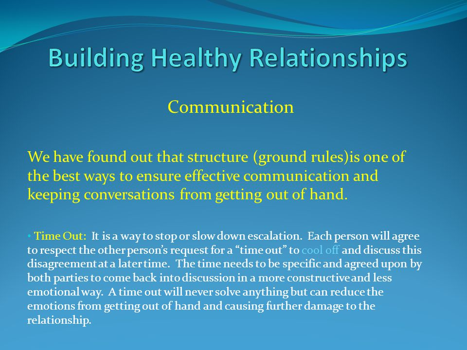Communication We have found out that structure (ground rules)is one of the best ways to ensure effective communication and keeping conversations from