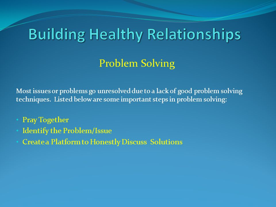 Problem Solving Most issues or problems go unresolved due to a lack of good problem solving techniques. Listed below are some important steps in probl
