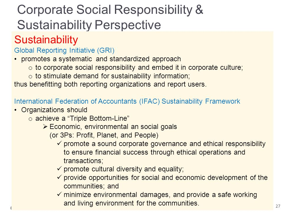 © 2015 McGraw-Hill Education Garrison, Noreen, Brewer, Cheng & Yuen Corporate Social Responsibility & Sustainability Perspective Sustainability Global