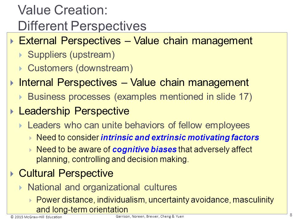 © 2015 McGraw-Hill Education Garrison, Noreen, Brewer, Cheng & Yuen Value Creation: Different Perspectives  External Perspectives – Value chain manag