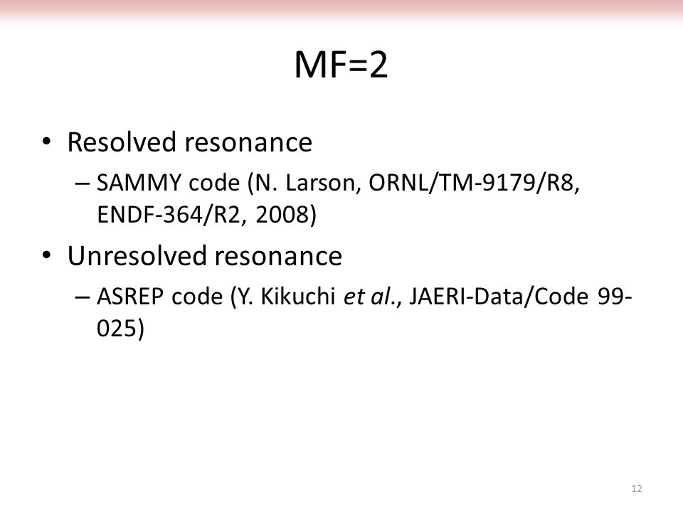 MF=2 Resolved resonance – SAMMY code (N.
