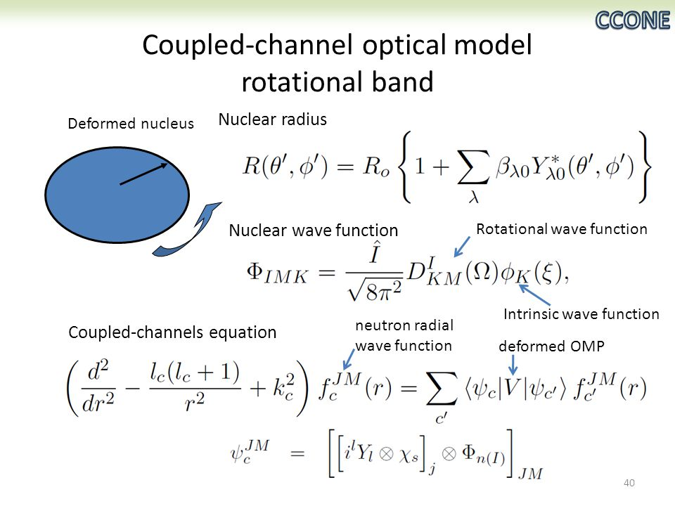 Coupled-channel optical model rotational band Deformed nucleus 40 Nuclear radius Nuclear wave function Coupled-channels equation Intrinsic wave function Rotational wave function deformed OMP neutron radial wave function