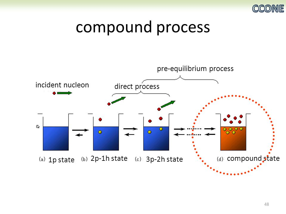 compound process 48 incident nucleon 1p state 2p-1h state 3p-2h state compound state direct process pre-equilibrium process