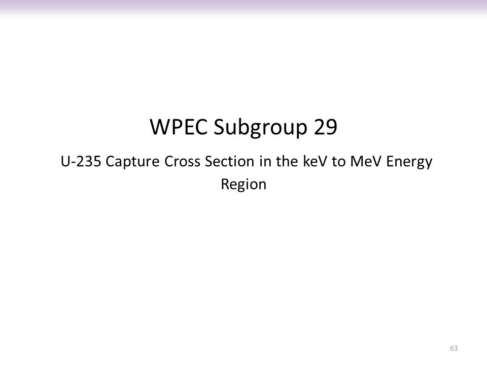 WPEC Subgroup 29 U-235 Capture Cross Section in the keV to MeV Energy Region 63