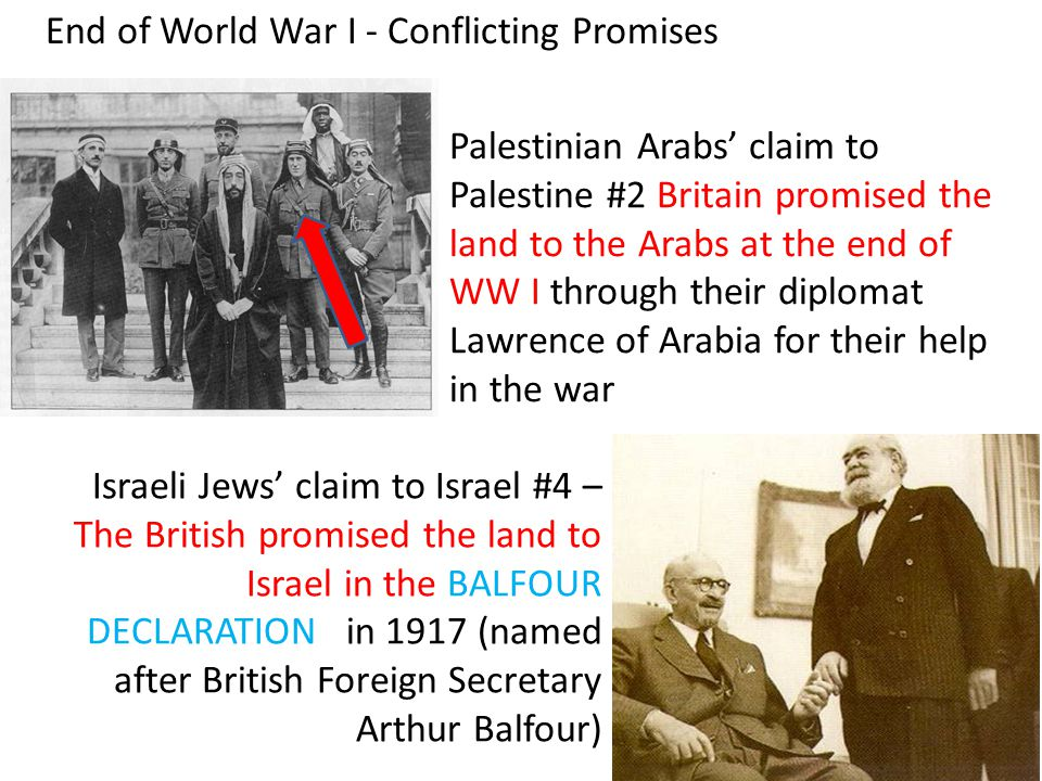 End of World War I - Conflicting Promises Palestinian Arabs' claim to Palestine #2 Britain promised the land to the Arabs at the end of WW I through their diplomat Lawrence of Arabia for their help in the war Israeli Jews' claim to Israel #4 – The British promised the land to Israel in the BALFOUR DECLARATION in 1917 (named after British Foreign Secretary Arthur Balfour)