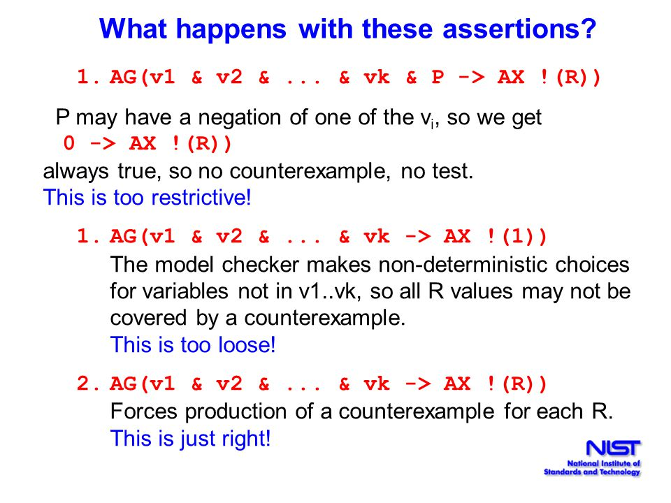 What happens with these assertions. 1.AG(v1 & v2 &...