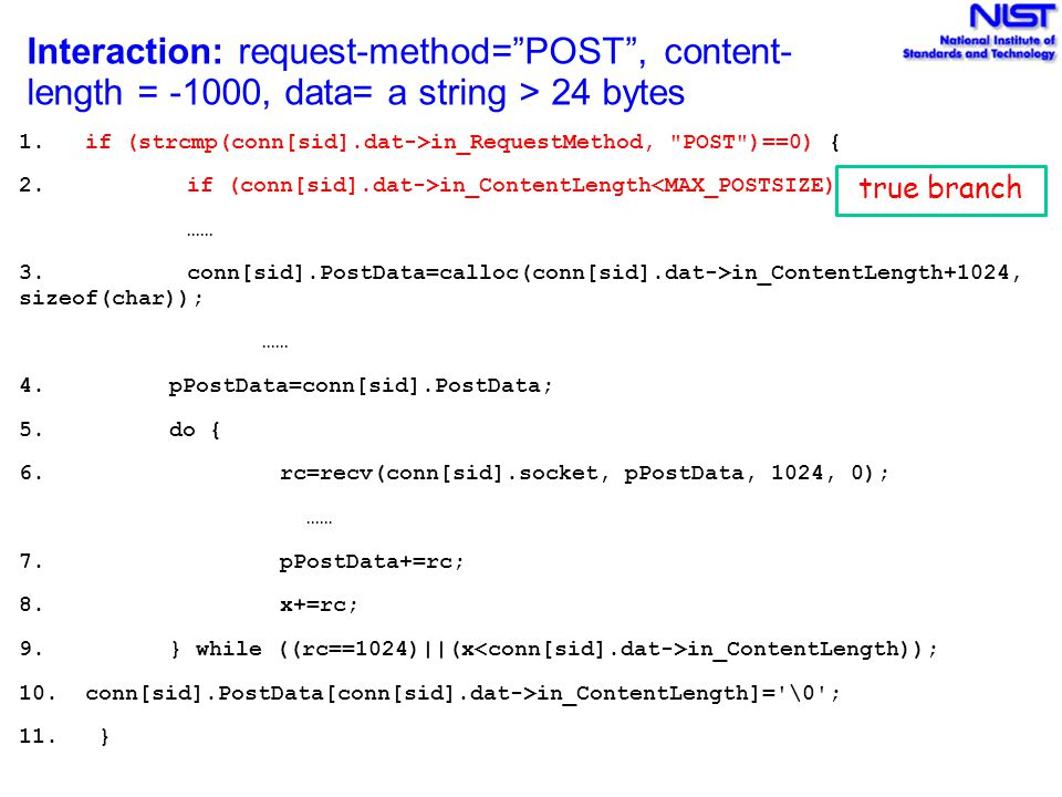 Interaction: request-method= POST , content- length = -1000, data= a string > 24 bytes 1.