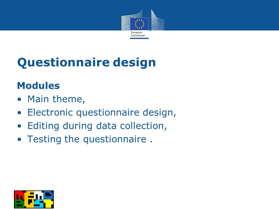 Questionnaire design Modules Main theme, Electronic questionnaire design, Editing during data collection, Testing the questionnaire.