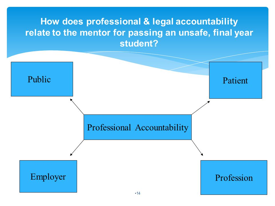 Professional Accountability Public Patient Employer Profession How does professional & legal accountability relate to the mentor for passing an unsafe, final year student.