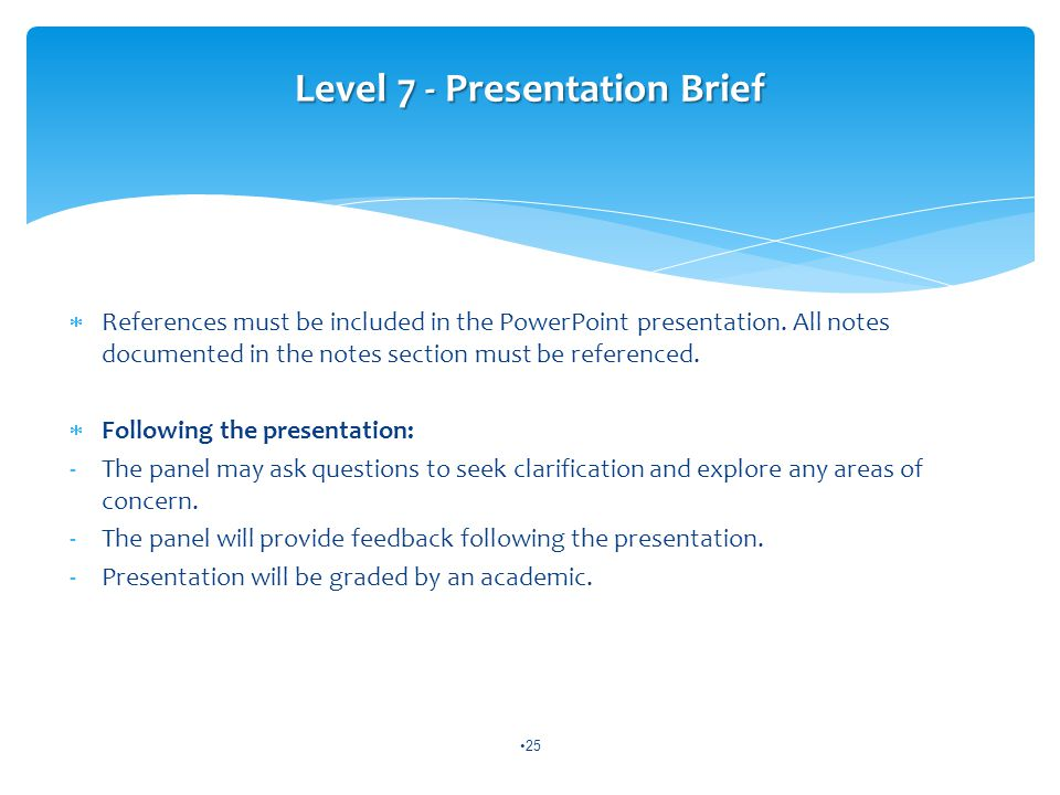  References must be included in the PowerPoint presentation.