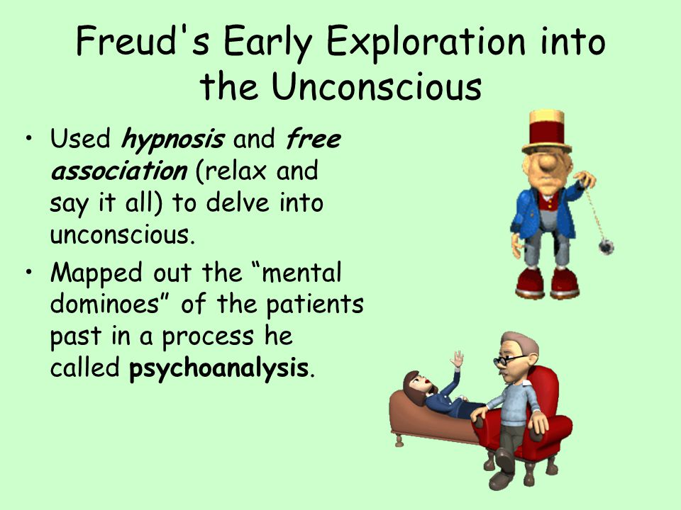 Freud s Early Exploration into the Unconscious Used hypnosis and free association (relax and say it all) to delve into unconscious.
