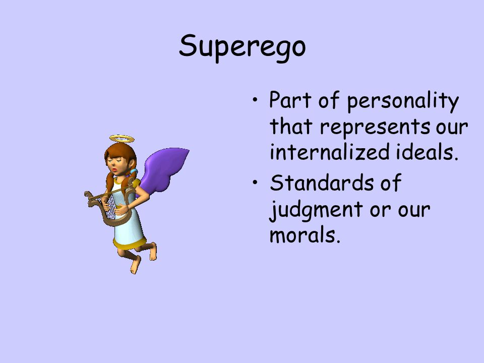 Superego Part of personality that represents our internalized ideals.