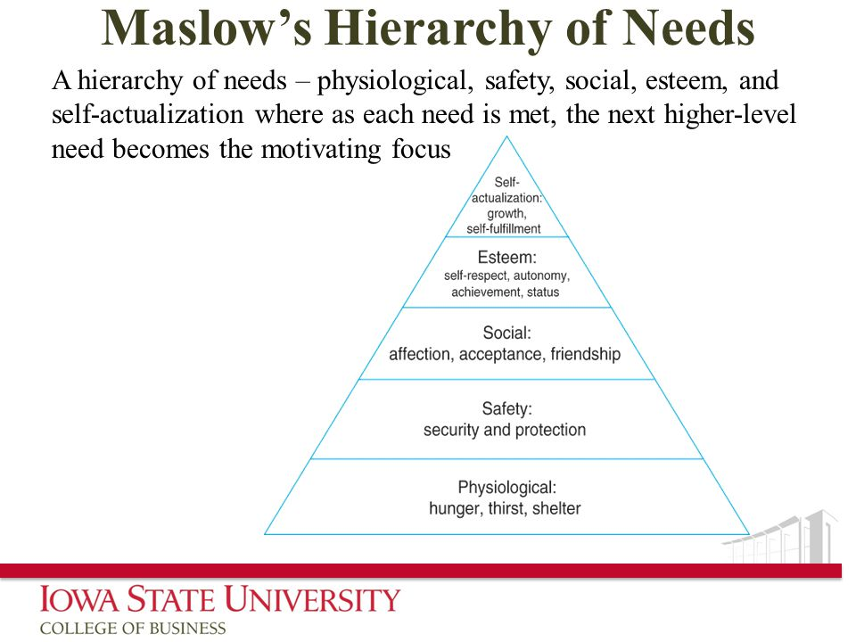 Maslow's Hierarchy of Needs A hierarchy of needs – physiological, safety, social, esteem, and self-actualization where as each need is met, the next higher-level need becomes the motivating focus