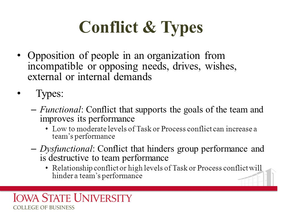 Conflict & Types Opposition of people in an organization from incompatible or opposing needs, drives, wishes, external or internal demands Types: – Functional: Conflict that supports the goals of the team and improves its performance Low to moderate levels of Task or Process conflict can increase a team's performance – Dysfunctional: Conflict that hinders group performance and is destructive to team performance Relationship conflict or high levels of Task or Process conflict will hinder a team's performance