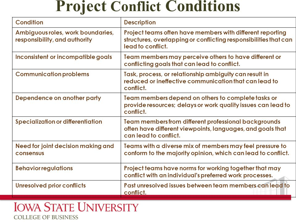 Project Conflict Conditions ConditionDescription Ambiguous roles, work boundaries, responsibility, and authority Project teams often have members with different reporting structures, overlapping or conflicting responsibilities that can lead to conflict.