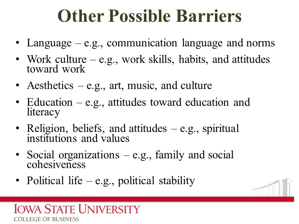 Other Possible Barriers Language – e.g., communication language and norms Work culture – e.g., work skills, habits, and attitudes toward work Aesthetics – e.g., art, music, and culture Education – e.g., attitudes toward education and literacy Religion, beliefs, and attitudes – e.g., spiritual institutions and values Social organizations – e.g., family and social cohesiveness Political life – e.g., political stability