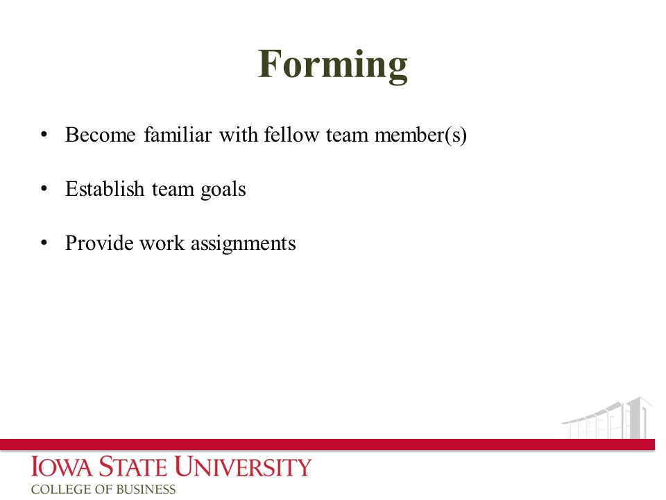 Forming Become familiar with fellow team member(s) Establish team goals Provide work assignments