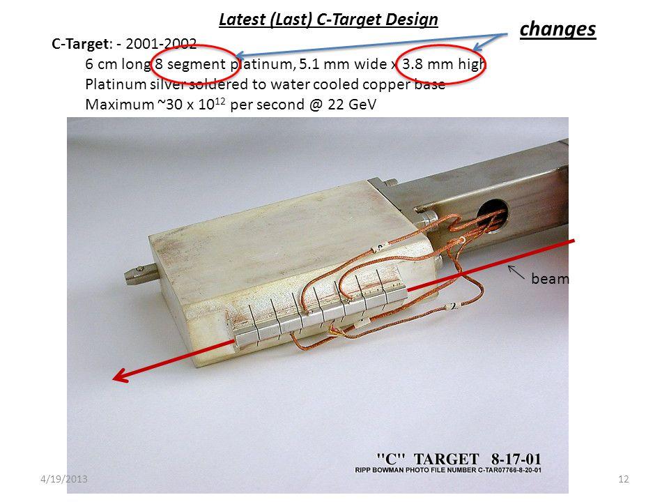 C-Target: - 2001-2002 6 cm long 8 segment platinum, 5.1 mm wide x 3.8 mm high Platinum silver soldered to water cooled copper base Maximum ~30 x 10 12 per second @ 22 GeV beam Latest (Last) C-Target Design changes 124/19/2013