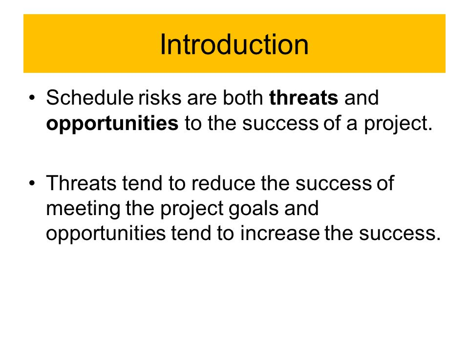 Schedule Risks Management process 1.identifying risks, defined as ''the process of determining which risks may affect the project and documenting their characteristics''; 2.performing qualitative risk analysis, defined as ''the process of prioritizing risks for further analysis or action by assessing and combining their probability of occurrence and impact''; 3.